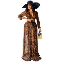 Chiffon Cover Up Maxi Dress Dress Women 2 Piece Set Top e Gonne lunghe Estate Moda Elegante Beach Beach Indossare Leopardo Skirt Suit Swimwear da donna