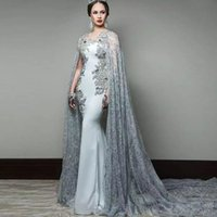 Newest Arabic Mermaid Evening Dresses With Cape Sleeve Jewel Neck Formal Lace Prom Gowns Sequined Sweep Train Celebrity Dress