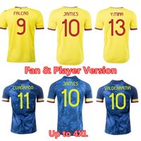 2021 Kolombiya Futbol Forması James Falcao Ev ve Uzakta Cuadrado Valderrama Fan Çalar Version Futbol Gömlek Erkekler + Çocuk Kiti Üniforma
