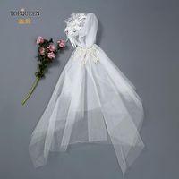 Velos nupciales topqueen vs16 en stock Dos capas de borde de cinta de velo de novia con perlas blanco marfil corto 2 accesorios de novia