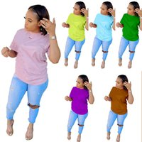 Plus size 2XL Women sexy tops tees t-shirt one piece sets Summer clothing short sleeve pullover solid color crew neck shirts plain clothes DHL 4841