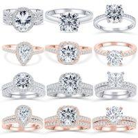 Tonglin 925 Silber Ring Frauen Zirkon Anzug Verlobungsring Set