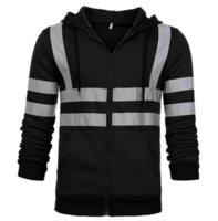 Men Stripe Patchwork Hooded Jacket Ski Hoodies Reflective Visibility Workwear Coat Color Block