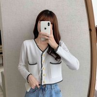Women Short Thin Tops Sweater Spring Fashion Solid Color Buttons Casual T Shirt Long Sleeve V Neck Cardigan Crop Streetwear