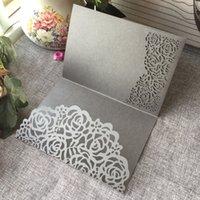 جوفاء الليزر قطع بطاقة دعوة الزفاف لطيفة مع ورق اللؤلؤ لبطاقات عيد ميلاد حزب شكرا