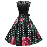Casual Dresses Retro Floral Print Summer Dress Women Female Sleeveless Elegant Lace Patchwork Swing Rockabilly Party