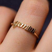 Minimalista Fino Ouro Aberto 12 Constellation Carta Dedo Anéis Aniversário Amizade Designer Jóias Presente Para As Mulheres