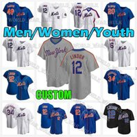 Mets Jersey 48 Jacob Degrom 20 Pete Alonso 12 Francisco Lindor 30 Michael Conforto Nouveau 31 Mike Piazza Darryl Strawberry York Baseball