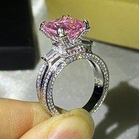 Size 5-10 Luxury Jewelry Stunning 925 Sterling Silver Big Pink Sapphire CZ Diamond Gemstones Eternity Eiffel Tower Women Wedding Band Ring