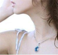 Lüks Melek Kristal Kolye Kolye Kadınlar Için Su Damlası Damla Gümüş Zincirler Tasarımcı 2019 Moda Takı Toplu 310 T2
