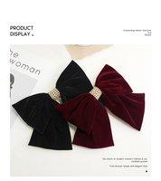 الأزياء أفخم المخملية الكبيرة القوس غطاء الرأس مقطع الشعر الإناث صافي الأحمر الأعلى