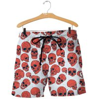 Men's Shorts Summer Fashionable Skull And Mushroom 3d Printing Style Harajuku Casual Belt Pants Unisex Beach Swimming 168