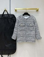 Jaquetas de pista de Milão 2021 O pescoço manga comprida Mulheres Designer Casacos Marca Mesmo estilo Outerwear 0319-1