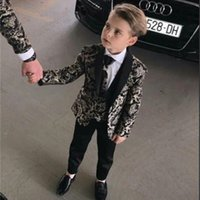 Tpsaade جديد نمط الصبي 3 أجزاء البدلات الرسمية fashional الأطفال البدلة كيد الزفاف / حفلة موسيقية الدعاوى (سترة + سروال + سترة) مخصص