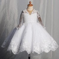 Girl's Dresses Little Princess Lace Pearls Wedding Flower Girls Dress Ball Gowns V Neck Kid Birthday Party Wears Pageant Gown
