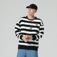 Men's Hoodies & Sweatshirts Crewneck Mens Striped Male Sportswear Boys Streetwear Clothing Tracksuit Autumn Oversized Pullovers Teenagers Z2