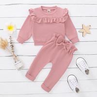 Giyim Setleri Toddlers Kız Giysileri 12 18 Ay Güz Bebek Kıyafetleri Pembe Uzun Kollu Gömlek Üst + Ruffled Pantolon 2 adet Set