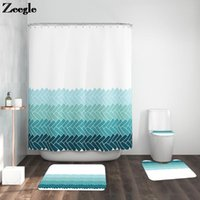 Bath Mats Nordic Style Printed Mat And Shower Curtain Set Anti Slip U-Shaped Toilet Rug Absorbent Bathroom Foot Carpet