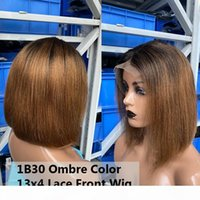 Straight Short Bob Wig 1B30 Ombre Colored 13X4 Lace Front Wig For Women 360 Lace Frontal Pre Plucked With Baby Hair You May