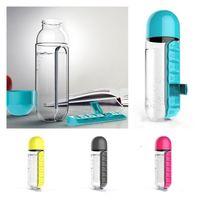 600 ملليلتر زجاجات المياه الرياضية البلاستيك القدح الجمع بين صناديق اليومية المنظم زجاجة السفر في الهواء الطلق اللياقة البدنية الشرب كوب أدوات المطبخ T2I52095