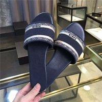 2021 Tasarımcılar Doway Kadınlar Slayt Terlik Pamuk D-Stripes Renk Karışımı Sandalet Yaz Işlemeli Düz Slaytlar Sandalet Yüksek Kaliteli Kauçuk Taban Ayakkabı