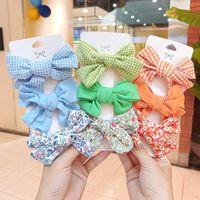 Hair Accessories 3PCs set Children Hairpins Set Flower Plaid Bow Clips For Child Bangs Barrettes Headdress Kids Girls