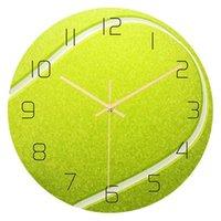테니스 공 디자인 시계 벽 시계 뮤트 운동 장식 벽 장식 자동 시계 홈 거실 장식 벽 clocj h0922