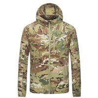 Мужские куртки Pavehawk Летняя тактическая куртка Мужчины быстрые сухие ультра легкая военная одежда камуфляж вариант, тонкая ветровка УФ-защита