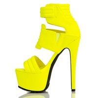Elbise ayakkabı fghgf, kadın sandalet, yüksek topuklu siyah, sarı 16 cm seksi sandalet
