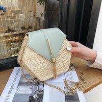 Bag Parts & Accessories Hexagon Mulit Style Straw+leather Handbag Women Summer Rattan Handmade Woven Beach Circle Bohemia Shoulder Fashion