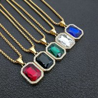 Iced Out Small Square Zircon Crystal Pendant Necklace For Men Women Bling Gold Color Chain Stainless Steel Hip hop Jewelry