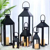 Kerzenhalter Glaseisenhalter Tragbare Lampe Schwarz Retro Laterne Garten Große Dekoration
