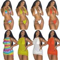 Summer Womens Swimwear Sexy sleeveless vest Skirt suit 3 pcs set ssexy bikini solid mesh Mini tight strap three piece swimsuit S-XXL D932