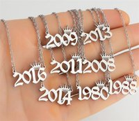 Personalized Birth Year Number Necklaces Custom Crown Initial Necklace Pendants For Women Girls Birthday Jewelry Special Year Vorco