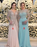 Luxuriöse Perle Kristall Pailletten Mutter der Brautkleider Lange Ärmel V-Ausschnitt Rosa Plus Size Formale Party Prom Kleider