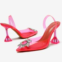 Dress Shoes Big Size 41 42 Rose Red PVC Transparent Women Pumps Crystal Pointy Toe High Heels Woman Perspex Spike Heel Back Strap Pump
