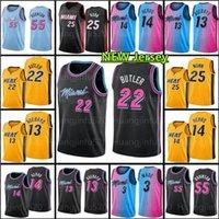 22 Dwayne Dwyane 3 Wade Jimmy 14 Tyler Butler Herro Basketbol Jersey Goran 7 Bam Dragic 13 Adebayo 55 Kendrick Robinson 25 Nunn Erkekler