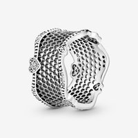 100% 925 Sterling Silver LOVE Pave Hearts Lace Ring For Women Wedding & Engagement Rings Fashion Jewelry