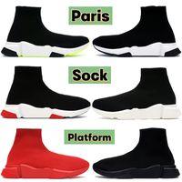 Homens mulheres plataforma paris meia casual sapatos triplo preto vermelho branco verde UNC moda luxo alto tênis masculinos tênis EUA 6-12