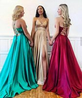 Party Dresses Long Satin Champagne Side Slit Prom With Pockets Maxi V-Neck Sexy Back Formal Evening Dress Gowns