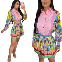 Mulheres vestido dois pedaço camisa camisa plissada mini saia ocasional moda verão vestidos vestidos de roupa