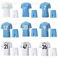 2021-20 22 Man City Soccer 26 Riyad Mahrez Jersey Ensemble 47 Phil Foden 20 Bernardo Silva 5 John Stones 10 Jack Grealish 14 Aymeric Laporte Ferr