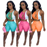 Designer Womens 2 Piece Tracksuits Panelled Bodysuits Set Spring Summer Sexy Women Clothing Bandage Hollow Out Night Club Wear Crop Top Mini Suit