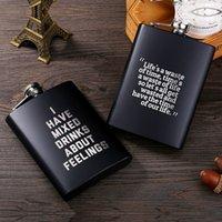 8 oz paslanmaz çelik hip flask ingilizce mektup siyah kişiselleştirmek şişesi açık taşınabilir flagon viski sosu şarap pot 6style T2I51975