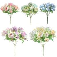 Moda 7heads Hydrangea Flores Artificial Buquê Floral De Seda Blooming Falso Peônia Mão Titular Flor Decorações De Partido De Casamento Decorativo