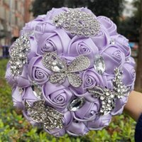 Wedding Flowers Bridal Corsage Bouquet Silver Diamond Butterfly Peacock Brooch Bride Hodling Artificial Roses Bouquets