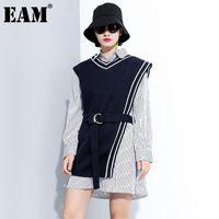 [EAM] Frauen Weiß Gestreifte Urreguläre Große Szie Bluse Revers Langarm Lose Fit Hemd Mode Frühling Herbst 2021 1DC303 Frauen Blusen SH