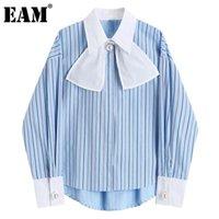 [EAM] Женщины большой размер жемчуга кнопка полосатая блузка отворота с длинным рукавом свободная подходящая рубашка мода прилив весна осень 2021 1d0361 женские блузки
