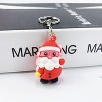 크리스마스 마스코트 산타 클로스 키 체인 눈사람 엘크 인형 크리스마스 트리 부드러운 접착제 키 링 펜던트 EWE6462