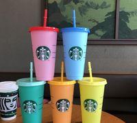 Tampa da caneca de palha com logotipo 24oz / 710ml Starbucks copos reutilizáveis copos plásticos copo de café frio festa de Natal presente dropship